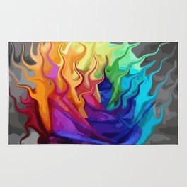 colorful flaming flower Rug
