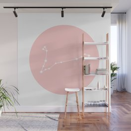 Pisces Star Sign Soft Pink Circle Wall Mural