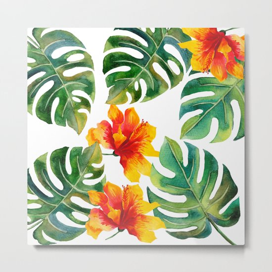 Monstera And Hibiscus Metal Print