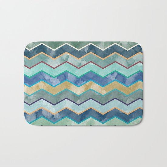 Watercolor Colorful Wave Bath Mat
