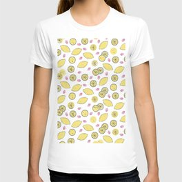 Modern sunshine yellow red lemon berries fruit pattern T-shirt
