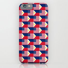 Mix of flag: philippines and Usa iPhone Case