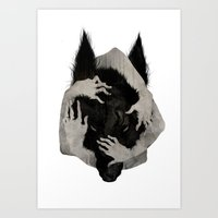 wolves Art Prints featuring Wild Dog by Corinne Reid