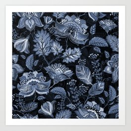 Blooms in the blue night Art Print