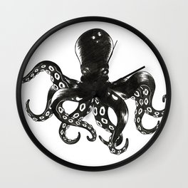 Octopus B/W Wall Clock