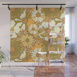 Brown, Orange, Ivory & Green Vintage Flower Pattern Wall Mural