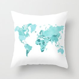 Distressed world map in aquamarine and teal Throw Pillow