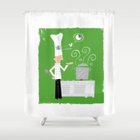chef Shower Curtains featuring Cuckoo Chef by Marcelo Badari