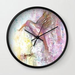 Hummingbird Watercolor Illustration Wall Clock