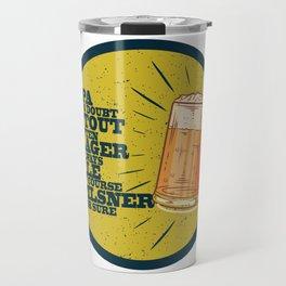 Beer always, vintage poster, circle, yellow Travel Mug