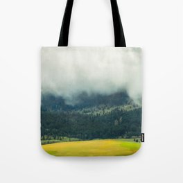 Foggy Morning Meadow Tote Bag