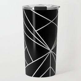 Geometrical black white abstract stripes pattern Travel Mug