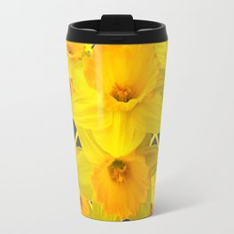 Golden Daffodils Grey Art Design Travel Mug