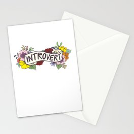 Floral Introvert Banner Stationery Cards