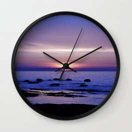 Blue and Purple Sunset on the Sea Wall Clock