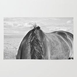 Horse Back in Black and White Rug