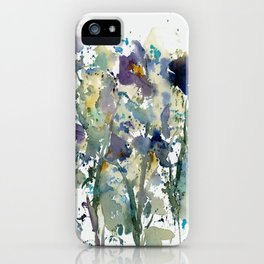 Iris Garden watercolor painting iPhone Case
