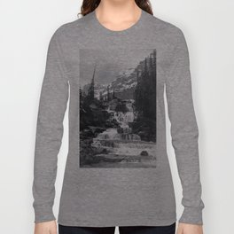 A stepped waterfall with Mount Temple and Mount Hungabee behind, Paradise Valley Long Sleeve T-shirt
