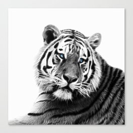 Black and white fractal tiger Canvas Print
