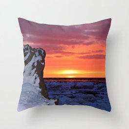 Golden Sunset on Sea and  Snow Throw Pillow