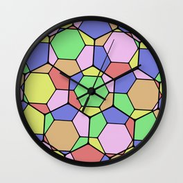 Stained Glass Tortoise Shell - Geometric, pastel, hexagon patterned artwork Wall Clock