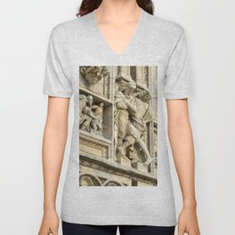 Sculpture Study Milan Cathedral , Duomo Milan, Italy Unisex V-Neck