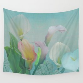 Painterly Calla flowers and leaves Wall Tapestry