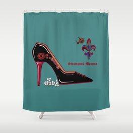 A Steampunk Pump, Stiletto, Steampunk Momma Shower Curtain