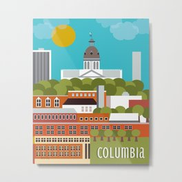 Columbia, South Carolina - Skyline Illustration by Loose Petals Metal Print