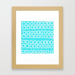 Abstract Squares and Dots in Teal and White Framed Art Print