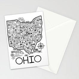 Ohio Map Stationery Cards