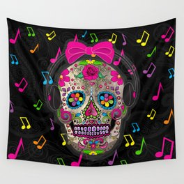 Sugar Skull Music Wall Tapestry