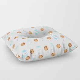 Milk and Cookies Pattern on Cream Floor Pillow