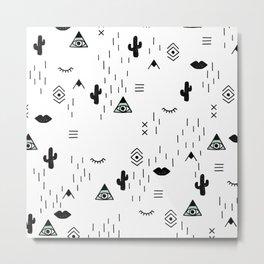 Indian summer aztec mayan symbol pattern Metal Print