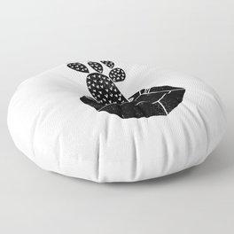 Geometric Cactus planter house plant linocut plant lady black and white hipster plants Floor Pillow