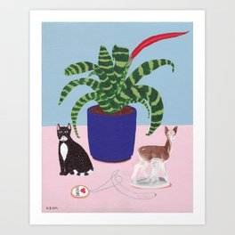 Still Life with Cat Art Print