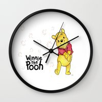 winnie the pooh Wall Clocks featuring Winnie the Pooh by Lozza.
