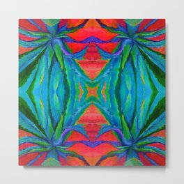 WESTERN MODERN ART OF BLUE AGAVES RED-TEAL Metal Print