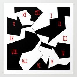 crazy clock-psychedelic,broken window,relativy,fun,black,white,red,crack,irregular,original,geometry Art Print