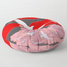 WHITE BIRDS IN FLIGHT RED-GREY SKY ABSTRACT Floor Pillow