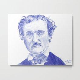 Edgar Allan Poe Portrait in Blue Bic Ink Metal Print
