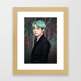 green hair kim taehyung Framed Art Print