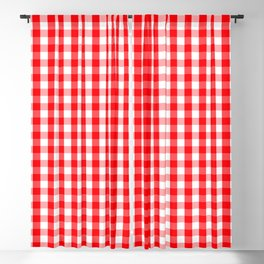 Large Christmas Red and White Gingham Check Plaid Blackout Curtain