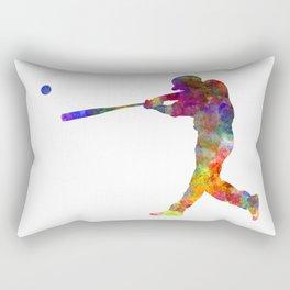 Baseball player hitting a ball Rectangular Pillow