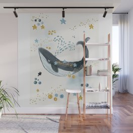 Whale, Stars, Blue Whale, Big Whale, Ocean, Beauty, Save The Whale, Happy Whale, Adventure Wall Mural