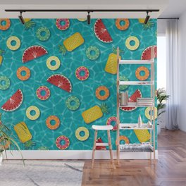 Fruit Salad Pool Floats Pattern – Turquoise Wall Mural