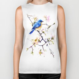 Bluebird and Dogwood, bird and flowers spring colors spring bird songbird design Biker Tank