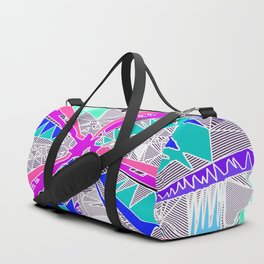 psychedelic geometric pattern drawing abstract background in blue pink purple Duffle Bag