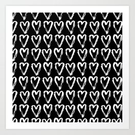 Black & White-Love Heart Pattern- Mix & Match with Simplicty of life Art Print