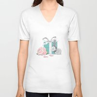 tiffany V-neck T-shirts featuring Tiffany Rose by Pink Geeks